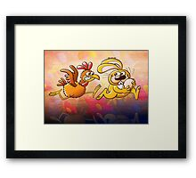 Easter Bunny Stealing an Egg from a Furious Hen Framed Print