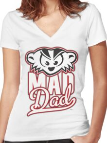 Mad Dad Women's Fitted V-Neck T-Shirt