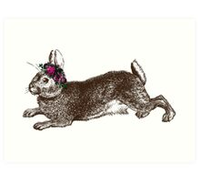 The Rabbit and Roses Art Print