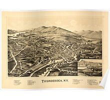 Panoramic Maps Ticonderoga NY Poster