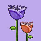 Fun Doodle Flowers purple orange iPhone 4 Case by Mariana Musa