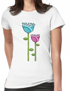 Fun Doodle Flowers blue pink T-Shirt