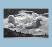 Black And White Storm Clouds Cobbossee Lake Maine Baby Tee
