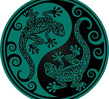 Teal Blue and Black Yin Yang Geckos by Jeff Bartels