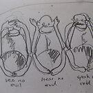 three wise monkeys by Alfred Gillespie