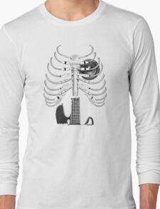 Guitar Skeleton Microphone Rock Music Lovers Long Sleeve T-Shirt