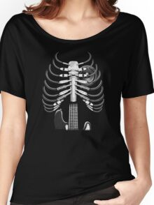 Guitar Skeleton Microphone Rock Music Lovers Women's Relaxed Fit T-Shirt