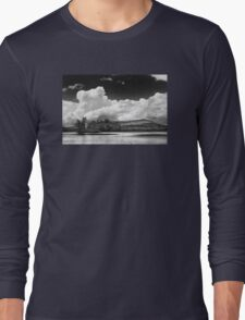 Black And white Vienna Maine Flying Pond With Storm Clouds Long Sleeve T-Shirt