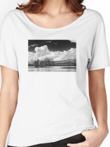 Black And white Vienna Maine Flying Pond With Storm Clouds Women's Relaxed Fit T-Shirt