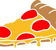 salami cheese dripping slice of pizza sausage slices design by Style-O-Mat