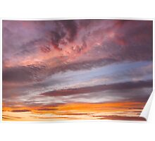 Colorful Orange Yellow Clouds At Sunset Poster
