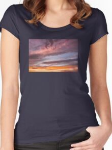 Colorful Orange Yellow Clouds At Sunset Women's Fitted Scoop T-Shirt