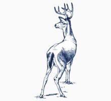 Curious Deer (blue) One Piece - Short Sleeve
