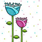 Fun Doodle Flowers blue pink Print by Mariana Musa