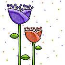 Fun Doodle Flowers purple orange Print by Mariana Musa