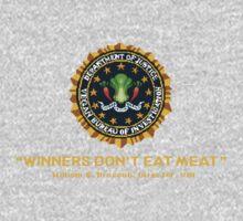 Winners Don't Eat Meat - Scott Pilgrim inspired Vegan Police Logo (transparent version) One Piece - Short Sleeve