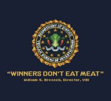 Winners Don't Eat Meat - Scott Pilgrim inspired Vegan Police Logo (transparent version) Kids Tee