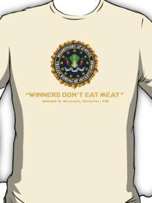 Winners Don't Eat Meat - Scott Pilgrim inspired Vegan Police Logo (transparent version) T-Shirt