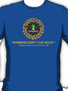 Winners Don't Eat Meat - Scott Pilgrim inspired Vegan Police Logo (transparent version) T-Shirt