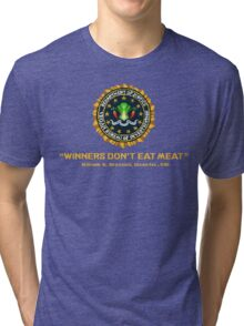 Winners Don't Eat Meat - Scott Pilgrim inspired Vegan Police Logo (transparent version) Tri-blend T-Shirt