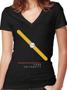 ¥ORK UNIVERSITY [black] Women's Fitted V-Neck T-Shirt