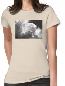 Black And white Sky With Building Puffy Storm Clouds Womens Fitted T-Shirt