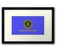 Winners Don't Eat Meat - Scott Pilgrim inspired Vegan Police Logo (blue screen version) Framed Print
