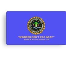 Winners Don't Eat Meat - Scott Pilgrim inspired Vegan Police Logo (blue screen version) Canvas Print