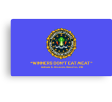Winners Don't Eat Meat - Scott Pilgrim inspired Vegan Police Logo (blue screen version) Canvas Print