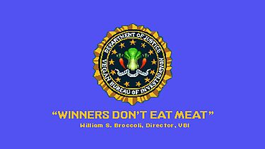 Winners Don't Eat Meat - Scott Pilgrim inspired Vegan Police Logo (blue screen version) by AdrienneOrpheus