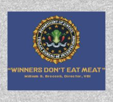Winners Don't Eat Meat - Scott Pilgrim inspired Vegan Police Logo (blue screen version) Kids Tee