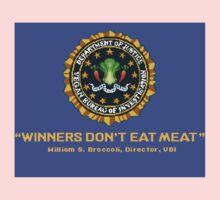 Winners Don't Eat Meat - Scott Pilgrim inspired Vegan Police Logo (blue screen version) Kids Clothes