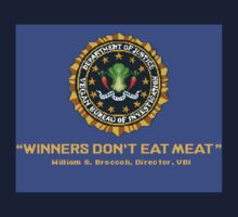 Winners Don't Eat Meat - Scott Pilgrim inspired Vegan Police Logo (blue screen version) One Piece - Short Sleeve