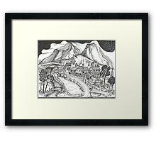1880 Farm with Stream Framed Print