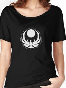 The Nightingale Symbol - White Daedric writings Women's Relaxed Fit T-Shirt