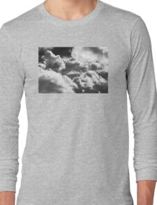Black And white Sky With Building Storm Clouds Long Sleeve T-Shirt