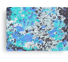 Blue green white stone wall, background. Canvas Print