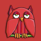 Red Owl red iPhone Case by Mariana Musa