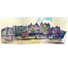 Nottingham panorama city watercolor Poster