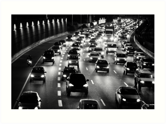 traffic at night by Victor Bezrukov