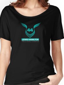 Lewis Hamilton Triple World Champion (teal) Women's Relaxed Fit T-Shirt