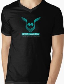 Lewis Hamilton Triple World Champion (teal) Mens V-Neck T-Shirt
