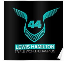 Lewis Hamilton Triple World Champion (teal) Poster
