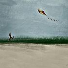 Boy Flying Kite at Dusk by JohnOdz