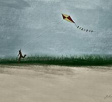 Boy Flying Kite at Dusk by JohnOdz