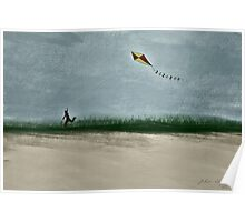 Boy Flying Kite at Dusk Poster