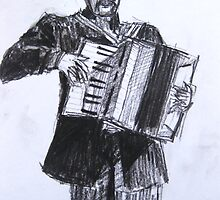 spanish accordian player by Alfred Gillespie