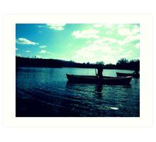 Canoeing, Norfolk Broads Art Print