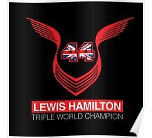 Lewis Hamilton Triple World Champion (red) Poster