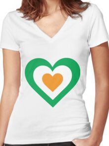 Irish Heart Women's Fitted V-Neck T-Shirt